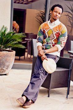Portrait of Laduma Ngxokolo - South African designer. African Inspired Fashion, African Print Fashion, Kitenge, Afro, South African Design, Ankara Styles For Men, King Fashion, Men's Fashion, African Attire For Men