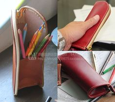 Leather pencil case that turns into a pencil cup.