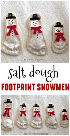 Salt dough footprint snowmen ornaments are adorable!! Cute kids craft for christmas.