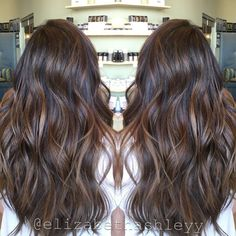 Spring time Natural Brown balayage | Painted hair | Long hair with highlights | Bescene | Elizabethashleyy