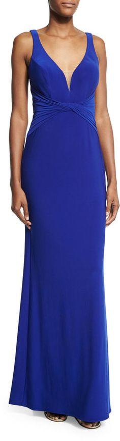 La Femme Sleeveless V-Neck Ruched Gown