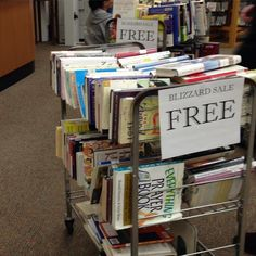 Stock up with some free books at the Centreville Branch's Blizzard Sale. Get them before we close at 2pm!
