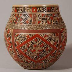 Rondina Huma| Hopi Pueblo | Adobe Gallery, Santa Fe http://www.adobegallery.com/art/hopi-exquisite-polychrome-jar