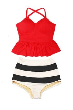 Peplum Tankini Swimsuit Bikini Bathing suit : Red Long Top and Wide Stripe High waist waisted Bottom Swim Beach wear set suit suits S M L XL by venderstore on Etsy