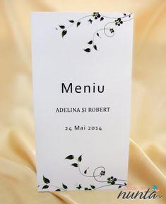 Meniu de nunta alb cu model floral discret verde. Place Cards, Place Card Holders, Floral, Model, Green, Flowers, Scale Model, Flower