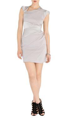 Silver purple dress uk-Karen Millen Dl199 Silver Asymmetric Bodycon Dress :