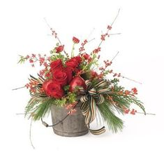 christmas flower arrangements - striped green white red ribbon
