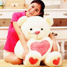 Fancytrader 47'' / 120 cm Love Heart Plush Stuffed Bear Free Shipping, Good Gift for kids and lover, X'mas Gift 2 Colors FT90102