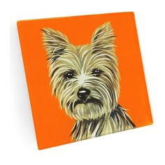 NAKED DECOR Yorkie Coaster ($20) ❤ liked on Polyvore featuring home, kitchen & dining, bar tools, glass coasters, naked decor and handmade coasters
