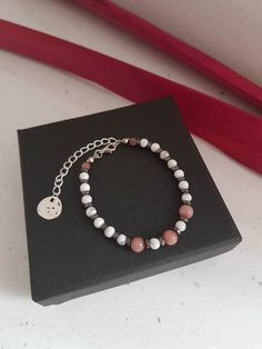 Howlite and agate bracelet  pink and white  tone silver