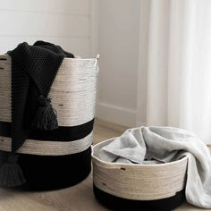Handcrafted baskets perfect for storing warm winter blankets! 🙌 And now you can WIN one! See previous post for details. Modern Baskets, Large Baskets, South African Design, Monochrome Interior, Winter Blankets, Scatter Cushions, Cotton Rope, Weaving Techniques, Halloween Outfits
