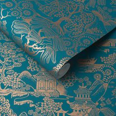 Basuto by Graham & Brown - Teal - Wallpaper : Wallpaper Direct Pearl Wallpaper, Copper Wallpaper, Silver Wallpaper, Brown Wallpaper, Wallpaper Direct, Black And Gold Oriental Wallpaper, Hallway Wallpaper, Leaves Wallpaper, Tree Wallpaper