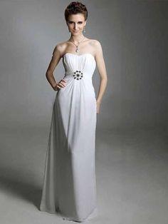 Vestido de Fiesta Blanco de Gasa de Vaina de Hasta suelo de Escote Corazón Con Cristal at pickedlook.com