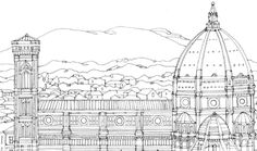 Free adult coloring - download this Florence coloring page from Colour your way from Barcelona to Beijing and colour the Duomo.