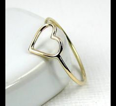 Gold Rings – Open Heart Designed Ring in Solid Gold 14k, 18k – a unique product by VamaCouture via en.DaWanda.com