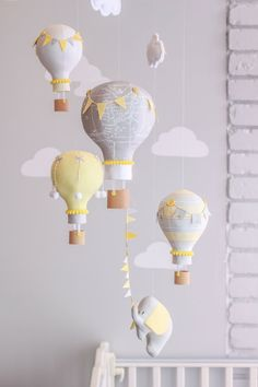 Gender Neutral Baby Mobile Hot Air Balloon and por sunshineandvodka