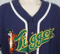 Womens Disney Tigger Baseball Jersey Shirt XL Button Up Team Bouncer Blue #Disney #ButtonDownShirtBaseballJersey #Casual