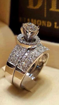 CT Ladies White Gold Over Halo Diamond Wedding Bridal Engagement Ring Set Diamond Rings, Diamond Engagement Rings, Diamond Jewelry, Jewelry Rings, Jewelry Accessories, Fine Jewelry, Jewellery, Halo Diamond, Wedding Jewelry