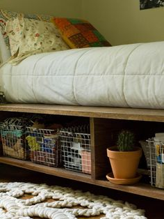 One of the most practical but least-utilized spaces in the bedroom is under the bed. This handmade platform bed features storage on both sides for books, craft supplies, seasonal clothes, accessories and more. Ditch cheap plastic bins for attractive wire baskets to corral clutter. - Courtney Weston, blogger, Always Rooney