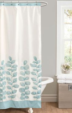 Blue Vineyard Allure Shower Curtain- Love the color scheme, but I won't do the claw foot tub.