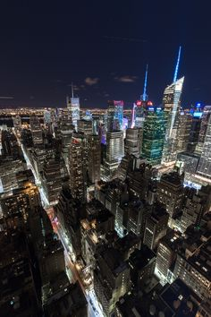 A view of Times Square New York City from above. Manhattan lit up at night is beautiful.