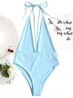 Plunging Neck Open Back Bralette Swimwear - Azure - Azure S