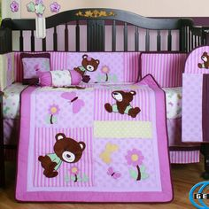 Kids Bedroom, Fashionable Pink Teddy Bear 13 Piece Girl Crib Bedding Set With Sweet Floral Theme Nusery And Floral Musical Crib Mobile: 31 Lovely Baby Bedding Crib Sets