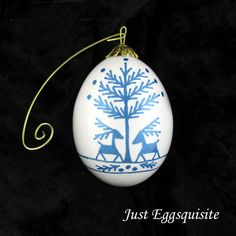Snowflake Christmas Egg Ornament Blue Deer Metallic Ink Pysanky Ukrainian Duck Egg