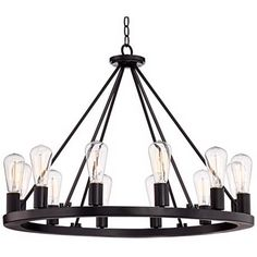 "Lacey 30"" Wide Round Black Chandelier"