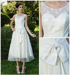 A Line Princess Scoop Neck Tea Length Lace Organza Wedding Dress With Sash Ribbon Bow Ruche By LAN TING BRIDER