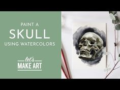 Skull - Watercolor Painting Tutorial with Sarah Cray Watercolor Projects, Watercolour Tutorials, Watercolor Artists, Watercolor Paintings, Liquid Watercolor, Watercolor Sunflower, Let's Make Art, Halloween Arts And Crafts, Skull Painting