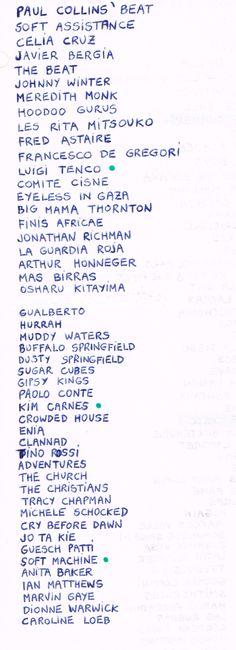 My Favorite Music List. 1985-1987. Francisco Huertas Hernández. Alicante (Spain) d1