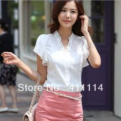 coleção nova 2013 camisa ocasional chiffonshirt branco quente