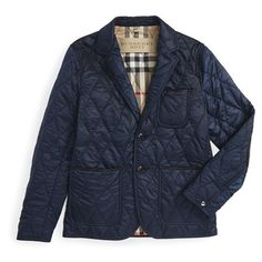 Men's Burberry Brit 'Gillington' Water Resistant Quilted Jacket ($595) ❤ liked on Polyvore featuring men's fashion, men's clothing, men's outerwear, men's jackets, navy blue, mens navy blue quilted jacket, mens diamond quilted jacket, mens quilted jacket and mens quilted blazer