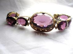 Amethyst Czech Glass Bracelet Art Nouveau 1920s by OurBoudoir #vogueteam #vintage #jewely