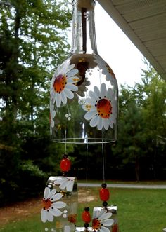 "Wind Chime, ""Orange Blossom Daisy"" , made from recycled wine bottle - fashioned into a Wine-Chime! Empty Glass Bottles, Recycled Wine Bottles, Glass Bottle Crafts, Bottle Art, Blue Bottle, Custom Bottles, Bottle Painting, Orange Blossom, Cool Diy Projects"