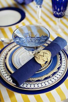 Table Setting ~ blue, yellow, white