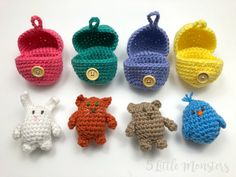 Crochet Amigurumi Patterns 5 Little Monsters: Crocheted Surprise Eggs - Crocheted version of blind bags or surprise eggs. A crocheted egg holds a surprise animal inside, includes pattern for bunny, bear, cat, and bird Easter Crochet Patterns, Crochet Bunny, Crochet Patterns Amigurumi, Cute Crochet, Crochet For Kids, Crochet Dolls, Crocheted Toys, Crochet Chicken, Crochet Baby Blanket Beginner