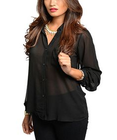 Black Open-Back Button-Up Top #zulily #zulilyfinds