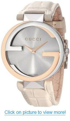 Gucci Women's YA133303 Interlocking White Crocodile Pink Gold and Steel Watch