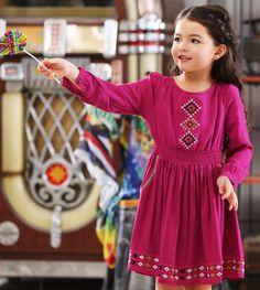 Günstige Kinder Kleider Für Mädchen Kleidung Langarm Stickerei Mädchen Kleid…