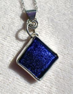 Royal Blue Dichroic Sterling Silver Necklace by SilverSunStudio, $58.00