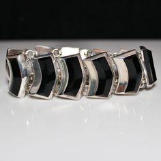 Estate Sterling Silver Black Onyx Link Panel Bracelet, 65.6 Grams