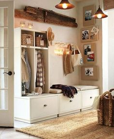 Love this storage idea in a cloakroom - if you're lucky enough to have the space!