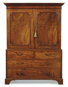 A GEORGE III MAHOGANY LINEN PRESS LATE 18TH CENTURY Chest Furniture, Furniture Styles, Wood Furniture, Linen Cabinets, Wooden Cabinets, English Antique Furniture, Traditional Furniture, Dark Wood, Antiques