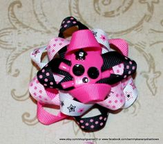 Skull Rockin Cool Hair Bow by Sammy Banany's Hair by iguania03, $4.99