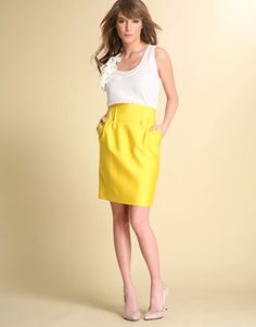 Since yellow skirts seem to be a trending pin tonight! Yellow Pencil Skirt, Yellow Skirts, Bridesmaid Separates, Olive Green Skirt, High Waisted Pencil Skirt, Pencil Skirts, Skirt Images, Yellow Fashion, Skirts
