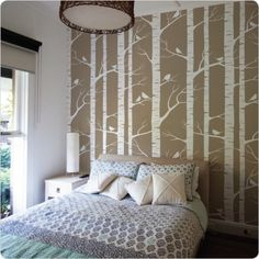 Lara Cameron removable wallpaper - birch - this company is cool.