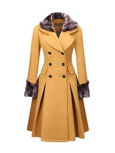 Classical Double Breasted Faux Fur Collar Swing Woolen Coat >> Love the design and colour, but it needs to be made in a more superior material for me to consider buying it! Winter Coats Women, Coats For Women, Mode Outfits, Fashion Outfits, Fashion Coat, Winter Overcoat, Mode Mantel, Modelos Fashion, Langer Mantel