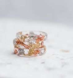 Tricolor Resin Stacking Ring Gold and Silver Flakes